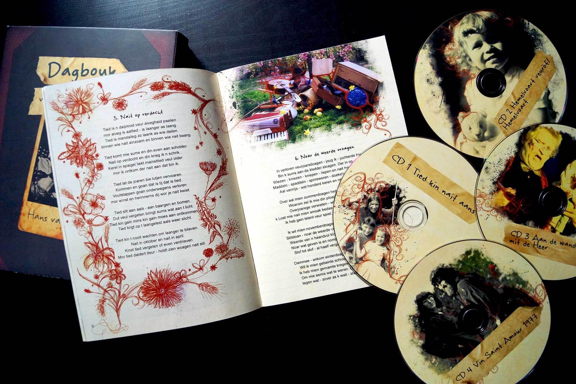 Dagbouk losse CDs en voorbeeld binnenkant boekje