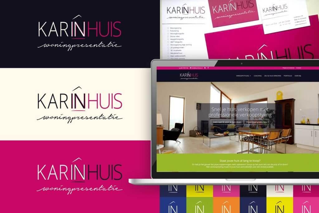 Karinhuis logo voorbeelden met website en drukwerk voorbeeld