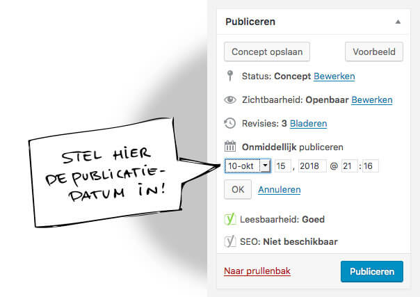 Stel de publicatiedatum in voor je blog - Roadbear Studios Tips voor Blogs