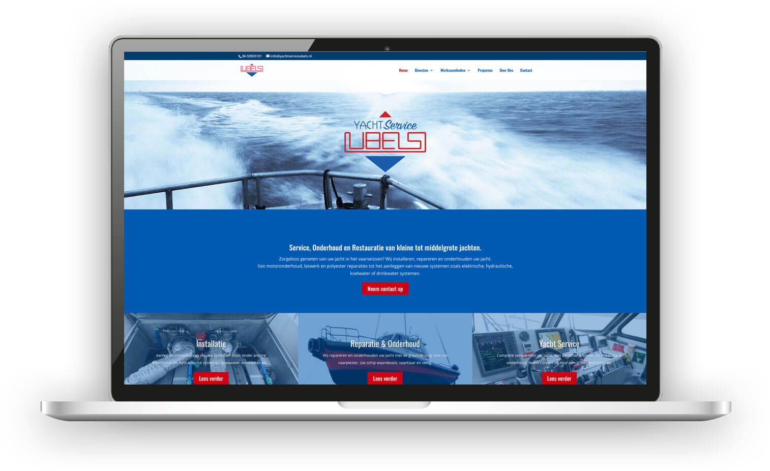 Webdesign Yacht Service Ubels voorbeeld in laptop