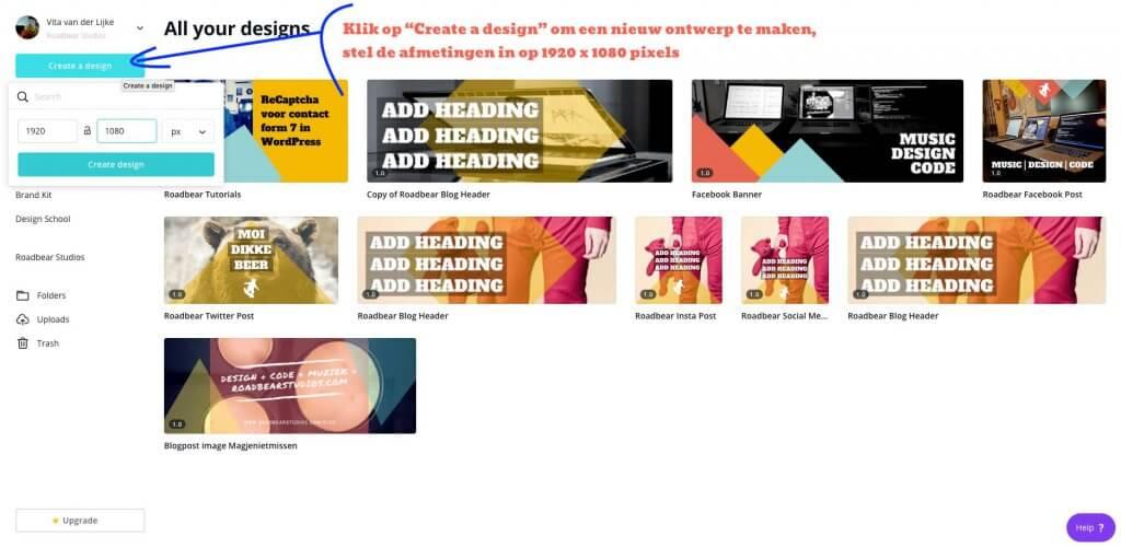 Stap 1 - maak een nieuw canvas aan in canva - voorbeeld