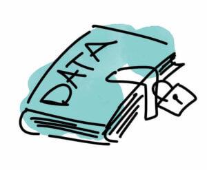 illustratie van boek met data en slot