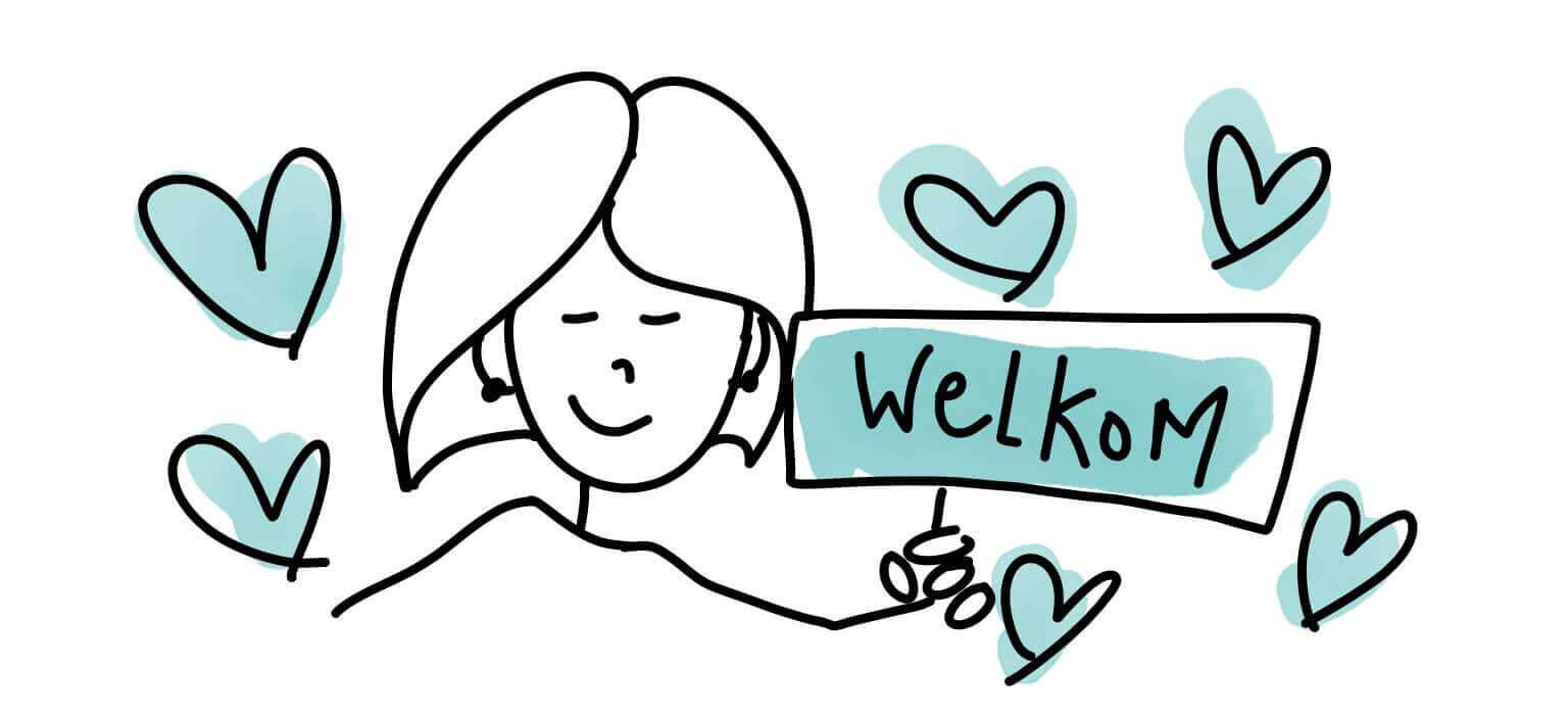 illustratie van vriendelijke dame met bord welkom