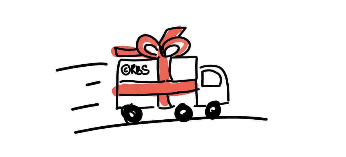 Illustratie van een vrachtwagen met een grote rode strik er omheen