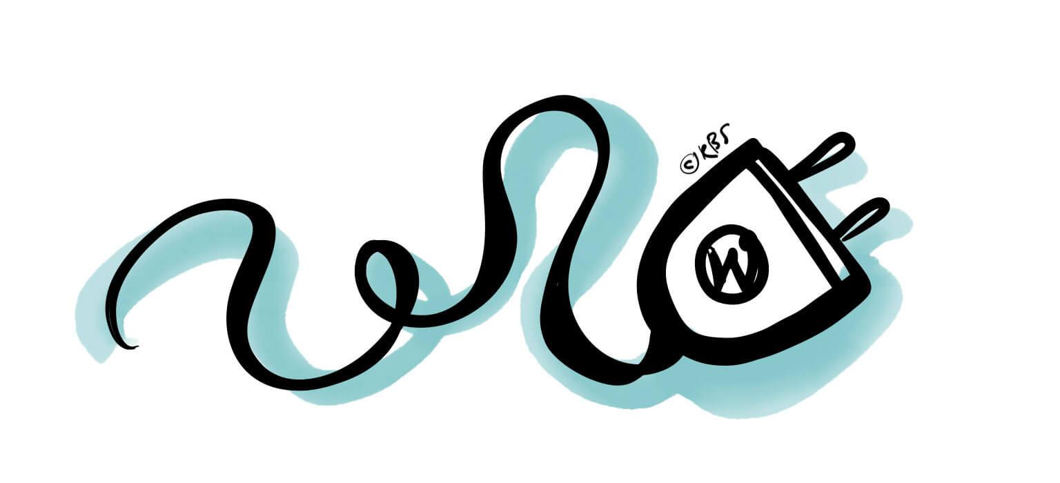 Illustratie van stekker met WordPress logo